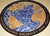 World Map made with Blue Sodalite, Marble, Black Granite w/Bronze inlaid letters